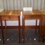 Young-growth koa study display: Ron Hester's matching end tables.