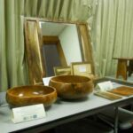 Young-growth koa study display: Richard Cunningham's mirror frame and jewelry box and Scott Hare's calabash.